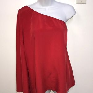 Tops - SEXY Red Silky One Sleeve Shoulder Top